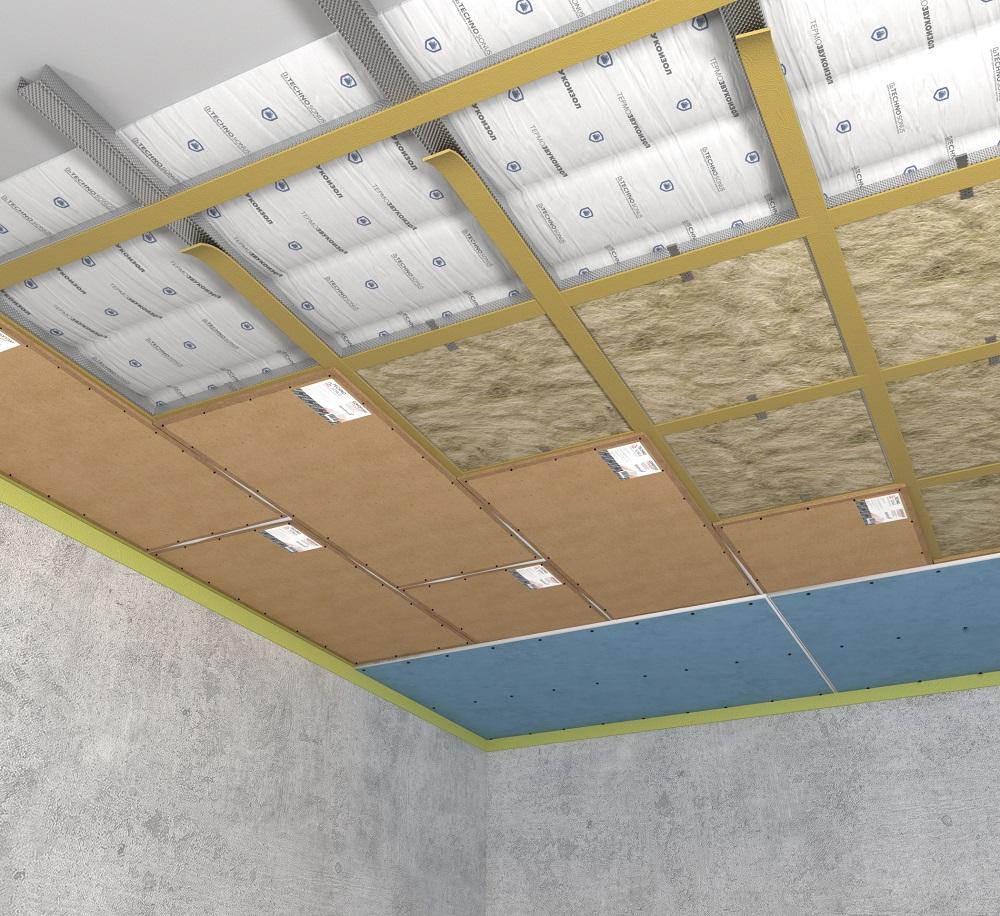 Закладка шумопоглощающего материала на потолок